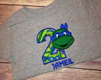 Teenage Mutant Ninja Turtles Birthday Shirt , TMNT Birthday Shirt All 4 Turtles Available