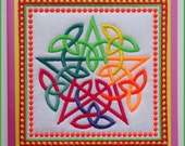 Machine embroidered rainbow pentacle handmade geeting card, Pagan, mystical, bright neon thread, pink padded card, measures 6in x 6in.