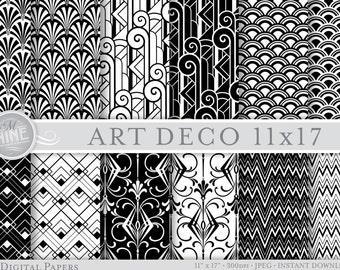 Black & White ART DECO Patterns Digital Paper 11 x 17 Pattern Prints, Instant Download, Retro Classic Backgrounds Print