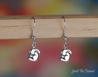 Cute Tiny Bunny Earrings Sterling Silver Fishhook Rabbit Lover .925