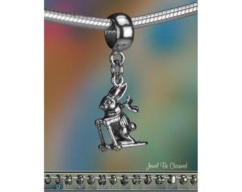 Skier Rabbit Charm or European Style Charm Bracelet Sterling Silver