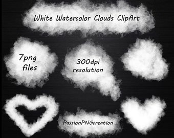 White Watercolor Clouds Clipart, Clouds Clipart, Watercolor clipart, clip art, PNG, Logo, Personal and Commercial Use