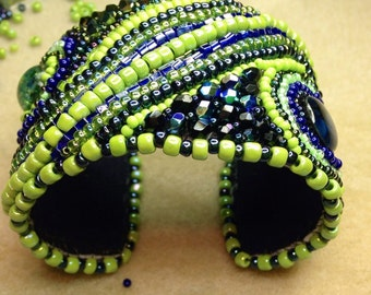 Navy Blue and Lime Green Cuff Bracelet