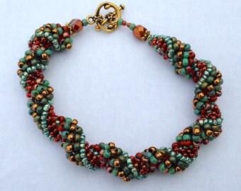 Blue TerraCotta Brass Green Beaded Spiral Bracelet