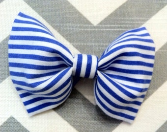 Baby Boy Bow Tie-Blue and White Stripe-Newborn-Infant-Toddler