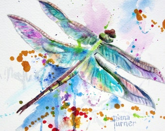 Dragonfly Print of Original Watercolor Painting, this is a Giclee Print from my original watercolor painting of a dragonfly wall art 8 x 10