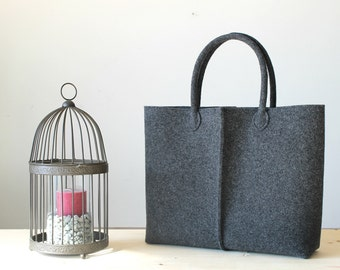 Charcoal grey Tote, Elegant and Casual Felt Bag from Italy, Tote Bag, Market Bag, Felt Tote, Gift For Her, Christmas Gift For Her