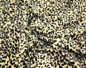 "Baby Leopard - Animal Print Polyester Velboa Fabric - Metre/Half - Faux Fur Pony Skin 58"" (145cm) wide Velour"