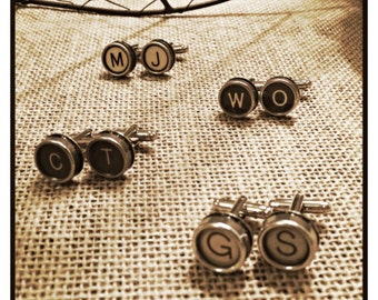 Men's True Vintage Typewriter Key Cuff Links Set - You Choose Colors and Letters