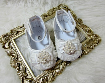 Ivory Rosette Baby Girl Shoes
