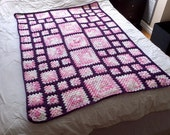 Crochet Blanket Pattern pdf: ASA child 1 - granny square pattern, end-saving crochet join and modern layout, RH & LH schematics, scrap-ghan