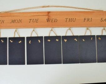 Rustic Weekly Planner Memo board replica Slate chalkboard Solid Wood