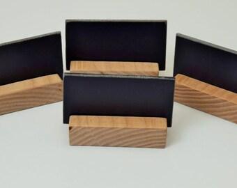 Hardwood Place name Settings with replica slate. Set of 4