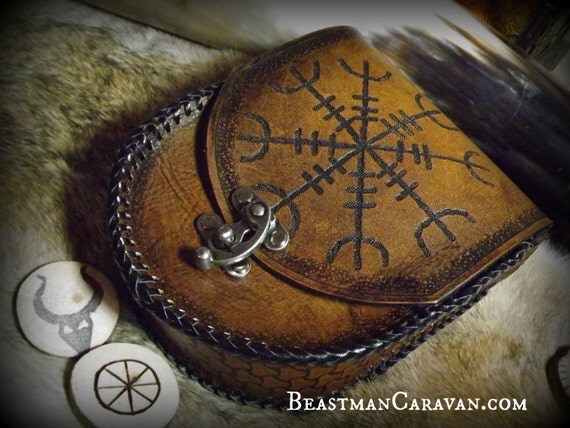 Viking Leather Belt Pouch - Ægishjálmr / Helm of Awe - Festival Bushcraft Possibilities Bag