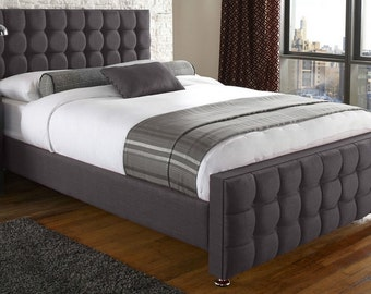 SALE SALE SALE - Jacobs Slate Grey Linen Buttoned 4ft6 Double, 5ft King Size, 6ft Super King Bed Frame