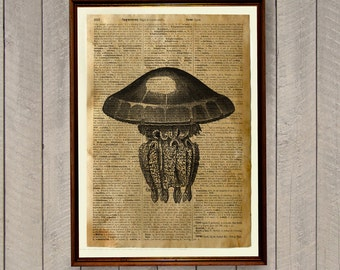 Nautical poster Rustic decor Jellyfish print Dictionary page WA60