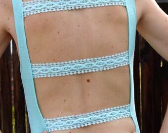 Light Blue Backless Lace Dress