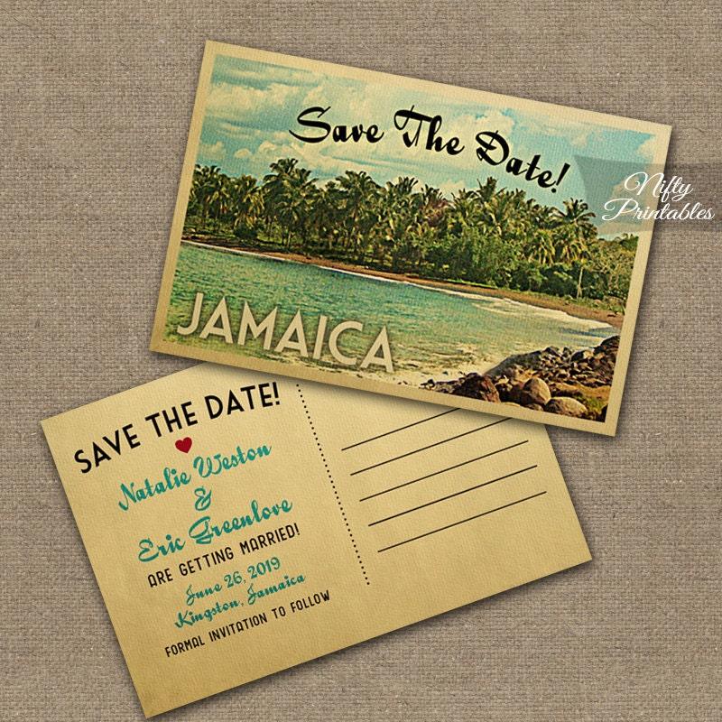 Jamaica Save The Date Postcards Printable Jamaica Postcard