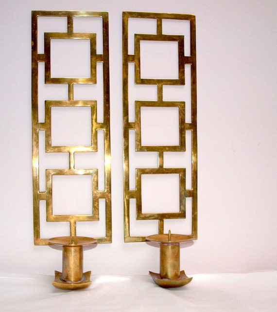 Japanese Wall Sconces: Brass Oriental Wall Sconces By WillowsandMagnolias On Etsy