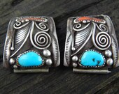 Wonderful Navajo Sterling Silver Turquoise + Coral Watch Tips Signed Cuffs 19.5 Grams