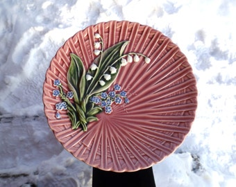 3 pcs Schramberg Majolica Dessert Plates, Lily of the valley, Hand Painted German Majolika, 1920s, Art Nouveau, Germany