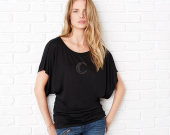 Black Flow Top with 'Man In The Moon' Embroidery