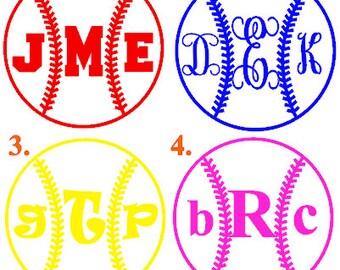 Monogram baseball Heat Transfer, monogram softball  iron-on, monogram iron-on