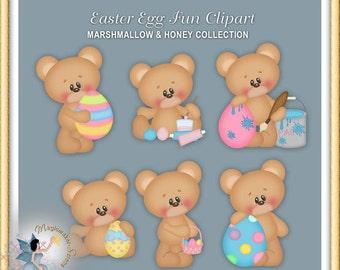 Easter Clipart, Egg Painting, Teddy Bear, Easter Egg Fun, Marshmallow and Honey