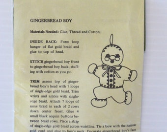 GINGERBREAD BOY, Felt Christmas Ornament Kit, sealed new in package, vintage supply, vintage ornament, vintage Christmas collectible