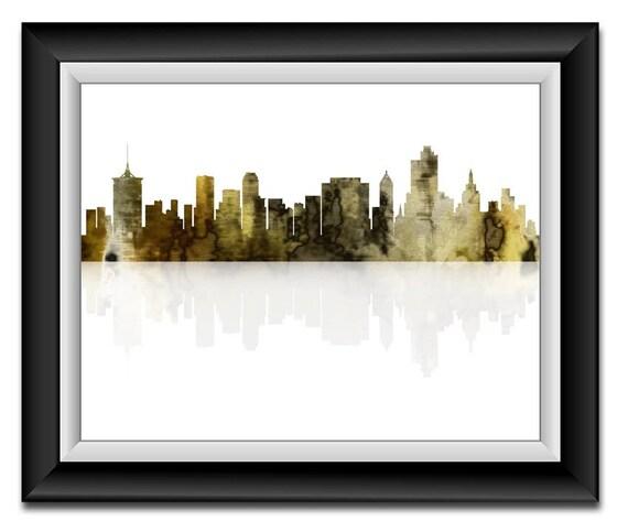 Tulsa Oklahoma City Skyline Yellow Grey Watercolor Print