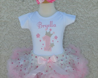 Pink Royal Princess Number White and Pink Pettiskirt -Personalized Birthday Pettiskirt,Sizes 6m - 14/16