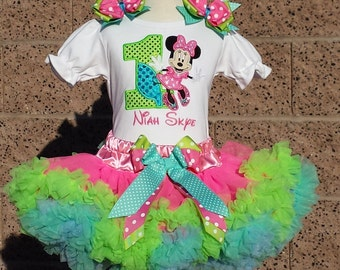Baby Minnie Mouse Birthday Number Pettiskirt -Personalized Birthday Pettiskirt,Sizes 6m - 14/16