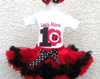 Lady Bug Birthday Red and Black Pettiskirt -Personalized Birthday Pettiskirt,Sizes 6m - 14/16