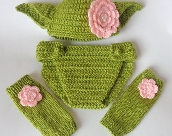 Yoda Baby Costume Set 3pcs For Girl- Hat , Diaper Cover And Leg Warmers From Star Wars Newborn  Baby Halloween / Cosplay Wig / Baby Shower
