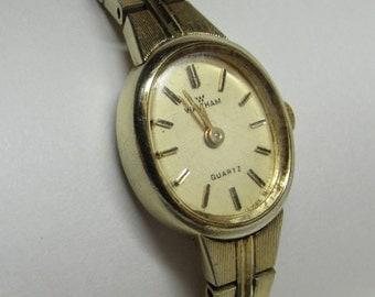 Waltham Ladies Gold Tone Watch ~ 4 Jewels ~ Quartz Movements ~ Runs Great ~ Vintage Watch ~ New Battery