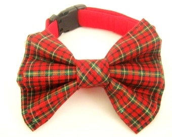 Christmas dog collar with bow tie Dog bow tie collar Dog collar with removable bow tie Bowtie collar Red Christmas dog collar