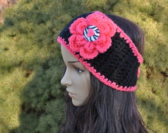 Black and Coral Headband Earwarmer