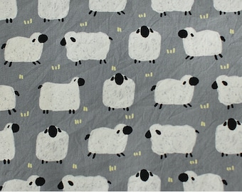 Cotton Fabric Sheep Gray By The Yard