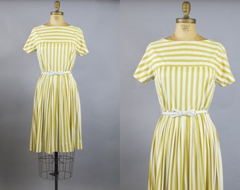 Gold Stripe Dress / 50s Dress / 1950s Striped Dress