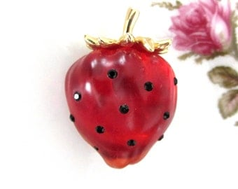 Vintage Red Lucite and Rhinestone Strawberry Brooch
