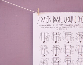"""PDF Sixteen Basic Ukulele Chords Chart 8.5"""" x 11"""" (as demonstrated by sixteen dismembered monster hands) for GCEA tuning"""