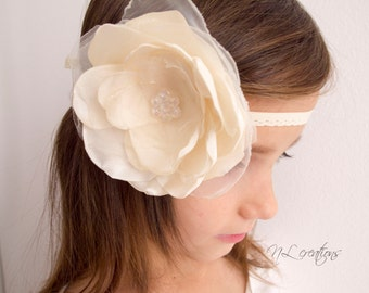 Flower Headband, Bridal Headband, Flowergirl Headband, Flower Hair Accessories, Wedding Headband, Ivory Headband, hair accessories