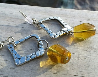 Earrings - Amber & Pebbled Square Silver Link