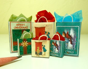 Christmas gift bags 6 dollhouse miniature 1/12 scale