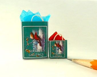 Christmas gift bags dollhouse miniatures 1/12 scale