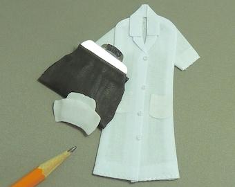 Nurse uniform hat and bag dollhouse miniatures 1/12 scale