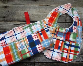 Baby Boy Chenille Bib and Burp Cloth Set-Going Coastal Patchwork Plaid