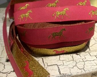 "2.5 yards 5/8"" Reversible Preppy Horse Gold Metallic On Pink Woven Ribbon"