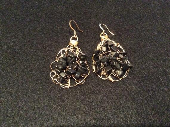 Handmade gold filled wire crochet earrings with black jasper chips