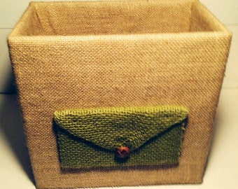 Natural Tan & Olive Green Burlap Desk Organizer with Envelope Embellishment
